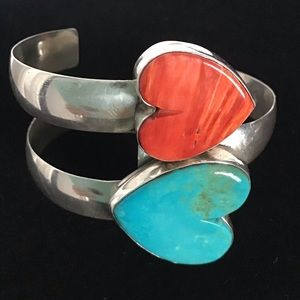Navajo Sterling Turquoise & Oyster Hearts Cuff